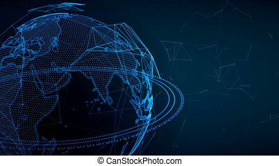 Earth globe rotating with plexus. Global digital connections. Network and exchange of data on the planet Earth.