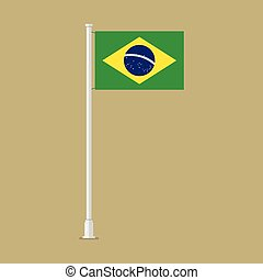 Brazil flag on pole. vector illustration