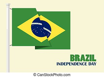 Brazil Independence Day with Brazil flag. Vector...