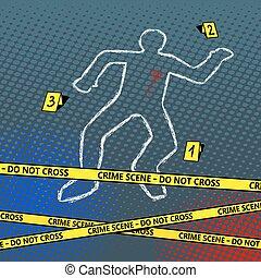 Crime scene body chalk outline pop art vector