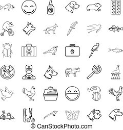 Domestic animal icons set, outline style - Domestic animal...