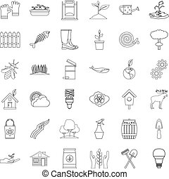 Eco care icons set, outline style - Eco care icons set....
