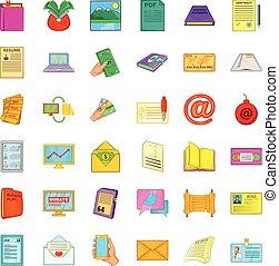 Document icons set, cartoon style - Document icons set....