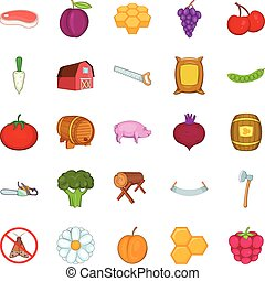 Rural economy icons set, cartoon style