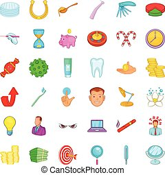 Dental care icons set, cartoon style