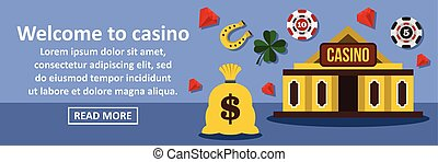 Welcome to casino banner horizontal concept. Flat...