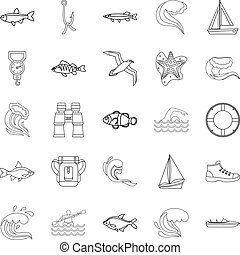 Fishery icons set, outline style - Fishery icons set....