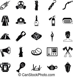 Tan icons set, simple style - Tan icons set. Simple set of...