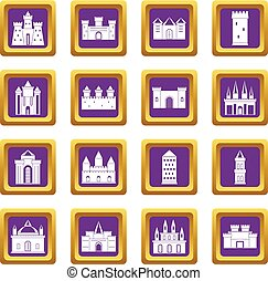 Towers and castles icons set purple - Towers and castles...