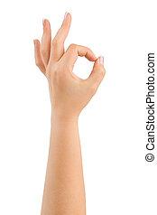Hand ok isolated on white background