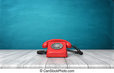 3d rendering of a bright red dial phone standing on a wooden desk and a blue wall background.