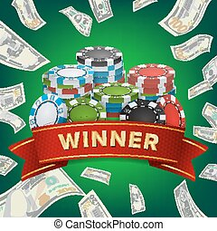 Winner Background Vector. Gambling Poker Chips Lucky Jackpot Illustration. For Online Casino, Playing Cards, Slots, Roulette. Money Stacks. Nightclub Billboard Concept.