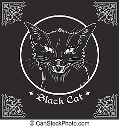 Black cat head in frame vector illustration - Hand drawn...
