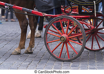 traditional horse-drawn carriage in rome, italy