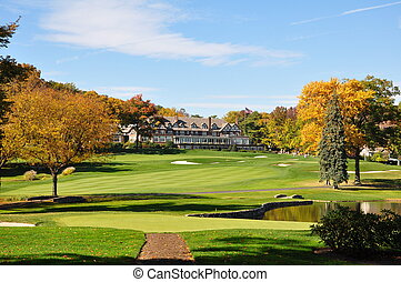 Champions finish - a view of the 18th green at a...