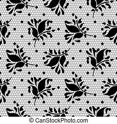 Lace floral vector black seamless pattern.