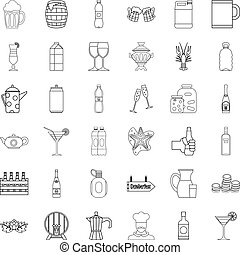 Alcoholic drink icons set, outline style - Alcoholic drink...