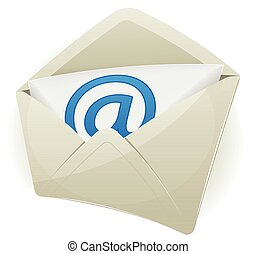 Email Icon - Illustration of an email icon envelope with...
