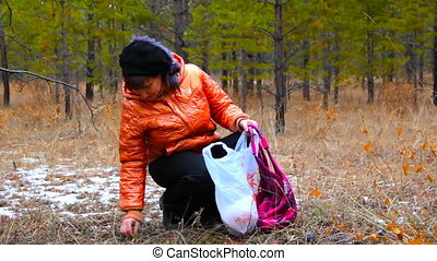 Young women picking up plant leaves in the autumn forest.