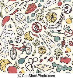 Healthy lifestyle seamless pattern. Hand drawn background with fitness, sport, fruit and vegetables symbols. Doodle vector illustration.