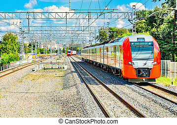 Two highspeed trains. - Highspeed trains moves toward at day...