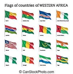 Western Africa flag set. National symbol of state,...