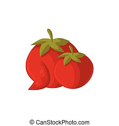 Cartoon raw whole red ripe tomato vegetables