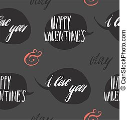 Set of greeting cards for Valentine s Day. Vector collection with brush lettering and hand written elements. Black, gold and white color labels for your design and invitation.