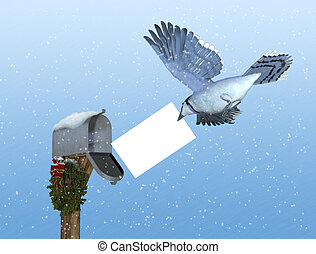 Special Holiday Delivery: Air Mail - A bluejay brings a...
