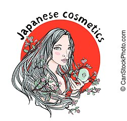 Japanese cosmetics. Asian woman in the branches of the cherry blossoms on a background of red circle. A symbol of naturalness. Emblem for organic cosmetics shop. Vector illustration, isolated.