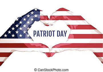 Two palms make heart shape. September 11 patriot day. Star...