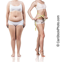 Woman's body before and after weight loss. - Collage of...