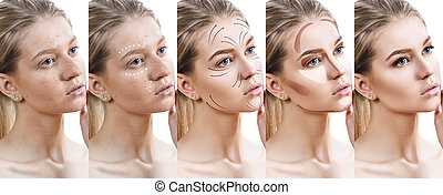 Woman step by step improves her skin condition. - Beautiful...