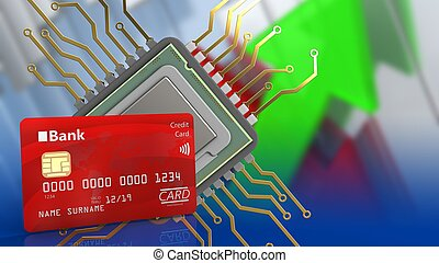 3d bank card - 3d illustration of cpu over arrows graph...
