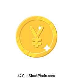 Gold yuan coin cartoon style isolated - Gold yuan or yen...