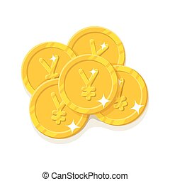 Gold Chinese yuan or Japanese yen coins cartoon style...