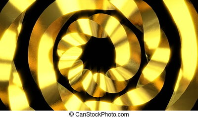 Abstract motion background. Gold elements. Swirl, rotating...