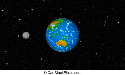 Abstract background with earth and moon. Space backdrop. 3d...