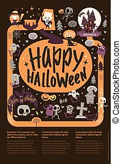 Cute festive Happy Halloween announcement banner template with cartoon ghosts, pumpkins, skeletons and place for text on black background. Vector illustration for party invitation, greeting card.