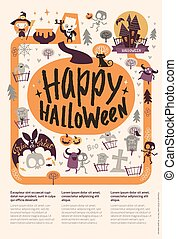 Lovely holiday Happy Halloween flyer template with funny and spooky cartoon characters and place for text. Vector illustration for festive party invitation, greeting card, announcement banner.