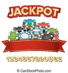 Jackpot Winner Background Vector. Gambling Poker Chips...