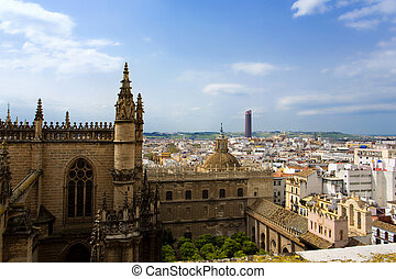 Aerial view of the city of Seville from the Giralda,...