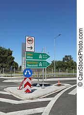 grecia, tráfico, carretera, señal