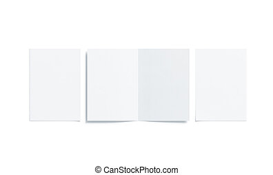 Blank white two folded a5 booklet mock up, opened closed -...