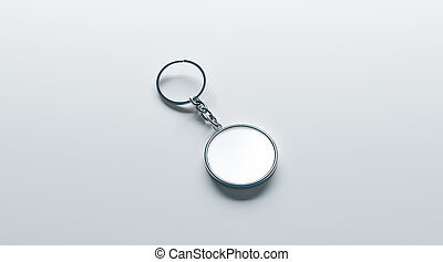 Blank metal round white key chain mock up isometric view, 3d...