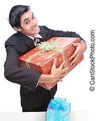 Office errand clasping gift - Latino junior businessman or...