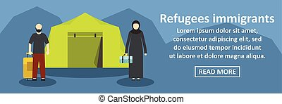Refugees immigrants banner horizontal concept. Flat...