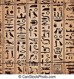 Egyptian ornaments and hieroglyphs - Vector illustration of...