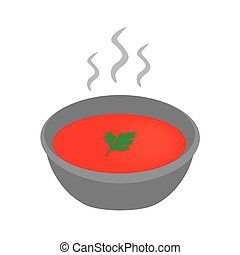 tomato soup with parsley leaf- vector illustration