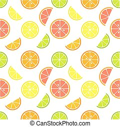 Citrus fruit slices seamless pattern. Vector illustration